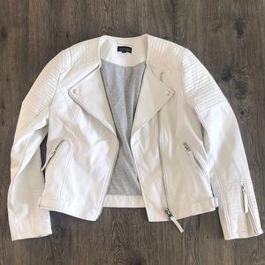 Topshop White Faux Leather Moro Jacket - 8